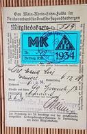Mitgliedskarte Gau Rhein Main, Reichsverband Für Deutsche Jugendherbergen, Ortsgruppe Frankfurt, 1934 - Documenti Storici