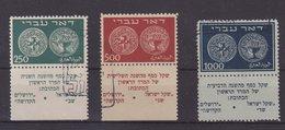 ISRAEL : N° 7 , N° 8 , N° 9 . OBL . TB . 1948 . ( CATALOGUE YVERT ) . - Oblitérés (avec Tabs)