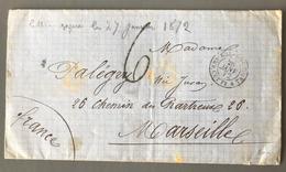Espagne, Lettre 1872 - Mouillage De ROQUETTAS Pour La France - Marine - (B1872) - 1872-73 Königreich: Amédée I.