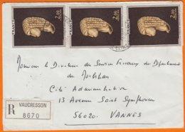 La Vénus De BRASSEMPOUY  2.00F X 3 Sur Enveloppe Rec De 92420 VAUCRESSON  Pour 56020 VANNES  Y.T. 1868 - Brieven En Documenten