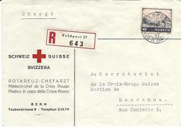 F 28,  Paysage, Valais, Obl Feldpost 7.X.43, Recommandé, Cachet Arr. Au Dos Lausanne 7.X.43,  Pli Du Médecin  CR, Bern - Poste Aérienne
