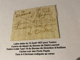 Lettre Datée Du 12 Aout 1837 Pour  TOULON ( Descriptif Complet Voire Scan De La Lettre ) Port Offert - Marcofilie (Brieven)