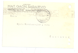 JUDAICA GAON.MAT SARAJEVO YEAR 1938 - Bosnië En Herzegovina
