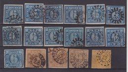BAVIERE : 17 EX .  OBL . AB. 1861/62 . - Bavaria