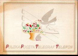 POLAND 1950 TELEGRAM LARGE FORMAT BIRD CARRYING BASKET FLOWERS WIRES USED LX2 TÉLÉGRAMME TELEGRAMM TELEGRAMA TELEGRAMMA - Mitteilung