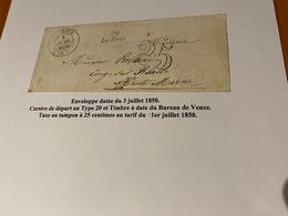 ENVELOPPE Datée Du 3 Juillet 1850-  ( Descriptif Voire Scan De L 'enveloppe )  Port Offert - Marcophilie (Lettres)