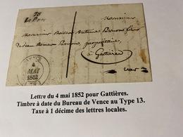 Lettre Du 4 Mai 1852- ( Descriptif Complet Voire Scan De La Lettre ) Port Offert - Marcofilie (Brieven)