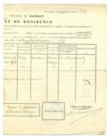 Changement Résidence 1909. Morlanwez Bersillies L'Abbaye. Ruchaux Deppe. - Marcophilie
