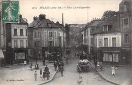 C P A  76 Bolbec La Place Desgenétais Carte Animée - Bolbec
