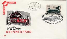 ÖSTERREICH 1967 - FDC 100 Jahre Brennerbahn ANK1275 - Trains