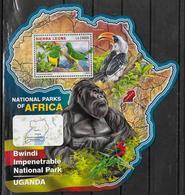 SIERRA LEONE BF 969  * *  ( Cote 20e )  Parc Ouganda Oiseaux Gorille - Pappagalli & Tropicali