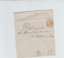 N°55 - 15c Bistre Sur LETTRE - OBLI 4349 XERTIGNY VOSGES  VERS LA CHAPELLE AUX BOIS - 1871-1875 Ceres