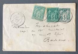 France 1892 - Entier Type Sage  + Complement De Mezos (Landes) Pour Bordeaux - (B1896) - Ganzsachen