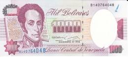BILLETE DE VENEZUELA DE 1000 BOLIVARES DEL AÑO 1992 SIN CIRCULAR  (BANKNOTE) UNCIRCULATED - Venezuela