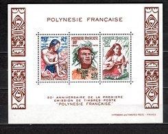 POLYNESIE   BLOC N°  4  NEUF SANS CHARNIERE COTE  20.00€  TAHITIENNE COQUILLAGE - Blokken & Velletjes