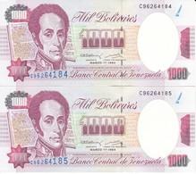 PAREJA CORRELATIVA DE VENEZUELA DE 1000 BOLIVARES DEL 17 MARZO 1994 CALIDAD EBC (XF)  (BANKNOTE) - Venezuela