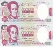 PAREJA IMPAR DE VENEZUELA DE 1000 BOLIVARES DEL 5 DE FEBRERO 1998 SIN CIRCULAR  (BANKNOTE) UNCIRCULATED - Venezuela