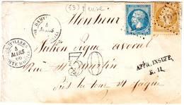 Cachet DAMVILLIERS BOITE MOBILE ( Meuse ) Sur Devant De Lettre Mars 1866 , TTB+++ Cote 650 Euro - 1877-1920: Période Semi Moderne