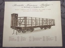 Affiche - Planche Train FRANCO BELGE DE MATERIEL DE CHEMINS DE FER Pour Chemin Du Pernambuco Brésil - Spoorweg