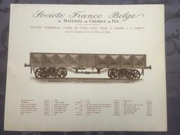 Affiche - Planche Train FRANCO BELGE DE MATERIEL DE CHEMINS DE FER Pour L'état Du Chili - Spoorweg