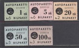 Finland 1949/50 - Bus Parcels, Mi-Nr. 1-5, MNH** (Mi-Nr. 3 - Ohne Gummi) - Finland
