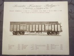 Affiche - Planche Train FRANCO BELGE DE MATERIEL DE CHEMINS DE FER Chemin Du Bas Congo Katanga - Spoorweg