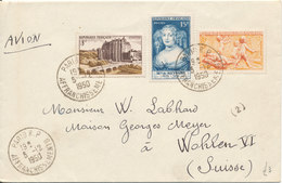 France Cover Sent Air Mail To Switzerland 5-12-1950 Nice Franking - France