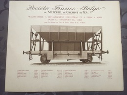 Affiche - Planche Train FRANCO BELGE DE MATERIEL DE CHEMINS DE FER Pour Gaz De Paris Usine De La Vilette - Ferrocarril