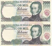 PAREJA CORRELATIVA DE VENEZUELA DE 2000 BOLIVARES DEL 10 DE FEBRERO DE 1998 SIN CIRCULAR  (BANKNOTE) UNCIRCULATED - Venezuela