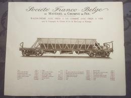 Affiche - Planche Train FRANCO BELGE DE MATERIEL DE CHEMINS DE FER Pour Chemin Du Bas Congo Katanga - Spoorweg