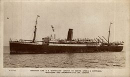 RARE RPPC SS SOPHOCLES ABERDEEN LINE LONDON TO SOUTH AFRICA AUSTRALIA - Paquebote