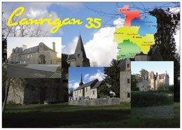 35 - LANRIGAN - Multi Vues 3 Vues +  La Carte Du Département De L'ille Et Vilaine - Cpm - Vierge - - Francia
