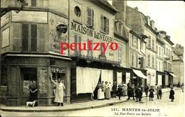 CPA  78 Mantes La Jolie Commerce Animé Rue Porte Au Saints Maison Leveque  12/2 - Mantes La Jolie