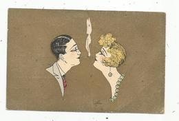 Cp,illustrateur Signée Lyett, Couple,cigarettes , Voyagée F.M. ,ed. E.A.P. - Illustratori & Fotografie