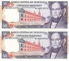 PAREJA CORRELATIVA DE VENEZUELA DE 50 BOLIVARES DEL AÑO 1992 SIN CIRCULAR  (BANKNOTE) UNCIRCULATED - Venezuela