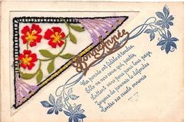 CPA Fantaisie Brodée - Fleurs - Bonne Année - Embroidered