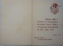 MENU Exposition De L'eau LIEGE 1939 Inauguration Stands Eau Et Santé Salon Grand Hôtel Vénitien - Menükarten