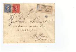 Grece 1890 Lettre Recommandée Pli Recommandé Cover Athenes Affranchissement 25+20 , Cachet De Cire , Solanet Millau - 1886-1901 Petits Hermes