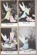 4 CP Heureux Noël Ange Sapin Poupée - Noël