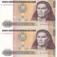PAREJA CORRELATIVA DE PERU DE 500 INTIS DEL AÑO 1987 (BANKNOTE) SIN CIRCULAR-UNCIRCULATED - Perú