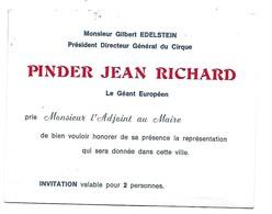 Pinder Jean Richard - Invitation - Tickets D'entrée