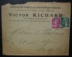 Lavardac, Lot Et Garonne Victor Richard, Spécialité D'articles Pour Bouchonniers, Couteaux Meules Lames - Marcophilie (Lettres)