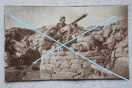 Photo ABL Mitrailleuse Maxim ? Position Antiaérienne DCA Tranchées Yser Ijser 1914-18 WW1 Militaria Machine Gun - Krieg, Militär