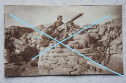 Photo ABL Mitrailleuse Maxim ? Position Antiaérienne DCA Tranchées Yser Ijser 1914-18 WW1 Militaria Machine Gun - Guerre, Militaire