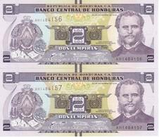 PAREJA CORRELATIVA DE HONDURAS DE 2 LEMPIRAS DEL AÑO 2016 SIN CIRCULAR (BANKNOTE) UNCIRCULATED - Honduras