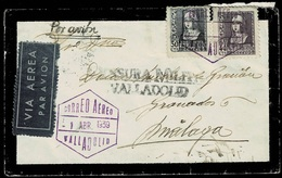 GUERRA CIVIL. 1939. VALLADOLID A MÁLAGA. FRANQUEO BICOLOR. ED. 858 Y 859. MAT. FECHADOR. BONITA CARTA DE LUTO. - 1931-Hoy: 2ª República - ... Juan Carlos I