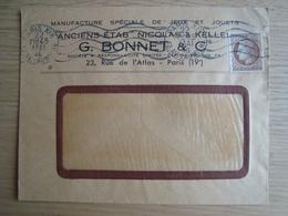 ENVELOPPE G. BONNET & Cie MANUFACTURE SPECIALE DE JEUX ET JOUETS PARIS - Storia Postale