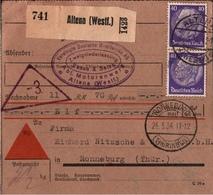! 1934 Nachnahme Paketkarte Deutsches Reich Aus Altena Nach Ronneburg - Briefe U. Dokumente