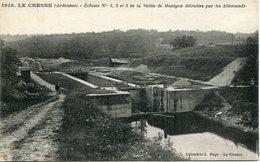 LE CHESNE .1918.écluses N°1, 2 Et 3 De La Vallée De MONTGON Détruites Par Les Allemands - Francia