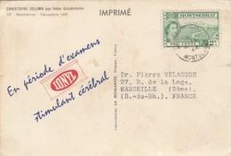 CARD IMPRIMÉ. MONTSERRAT TO FRANCE. IONYL  PHARMACY - Montserrat